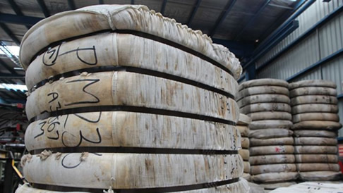 Stacks of wool bales ready for export to China