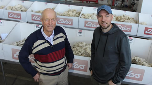 Murray Davis and his son Andrew at the Melbourne wool store last week where they sold Merino fleece wool and oddments to a top price of $15.41/kg.