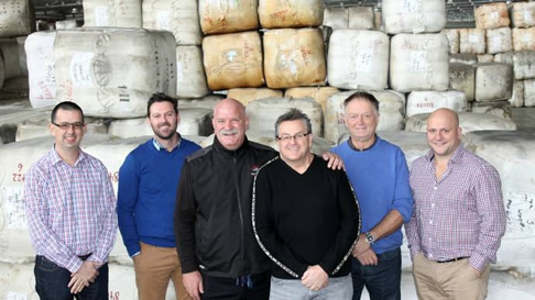 Paul Ferronato of Victoria Wool Processors, Nigel Rendell of United Wool, Len Tenace of Segard Masurel, Jim Michell of Sentdale, Ken Stock of Stock Wool and James Thomson, Australian Merino Exports. Photo: Laura Griffin